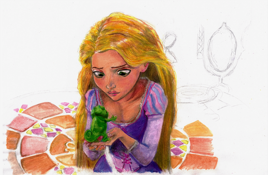 Rapunzel and Pascal forever painted by Pasoslargos