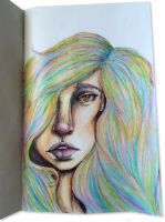 CRAYON LOVE:Woman in the Rainbow Hair by joejoemuh9