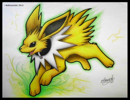 AT: Black collar Jolteon by Boltonartist