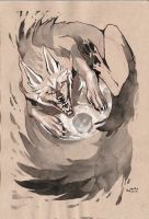 wolf ink drawing by HJeojeo