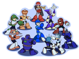 Mega Man 3 robot masters by DeadMosco
