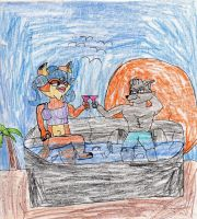 Sly and Carmelita in the hot tub by trexking45