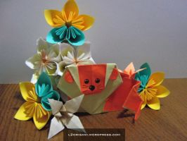 Origami Lion in a flower garden by DarkUmah