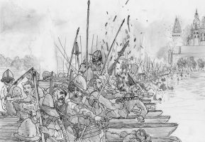 Crossing the Main, Battle of Hoechst, June 20 1622 by FritzVicari