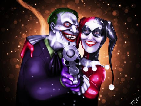 Harley Quinn and Joker by thorup