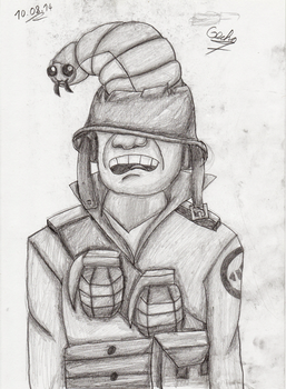 Soldier and his trusty Brain Maggot by Gecko-7