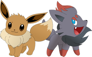 Eevee and Zorua by Captain-Connor