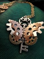 Steampunk Butterfly Key Chain by dizzylizz