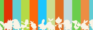 Pokemon - All Starter Pokemon Vector Silhouettes by firedragonmatty