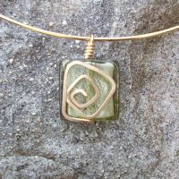 Glass Wirework Pendant 012 by DarkFireRaven