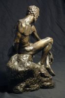 Sitting Man - Bronze - view 2 by dpeteuil