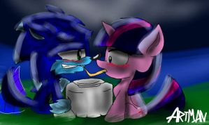 Sonic Werehog And Twilight Sparkle by SonicArt100