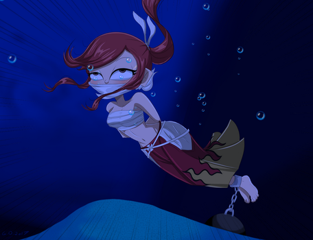 Erza Drowning- Commission by gaggeddude32
