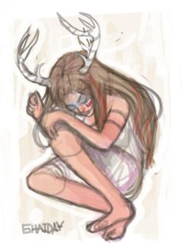 Girl with antlers by Miss-Golden
