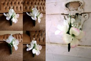 White and Light Pink Floral Spray Boutonniere by ValkyrieOfODIN