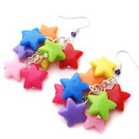 Rainbow Star Earrings by fairy-cakes