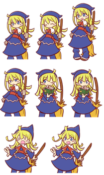 Puyo Puyo 20th: Witch Cutscene Sprite by Raffine52