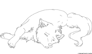 Sad Wolf Lineart by xXWitherXx