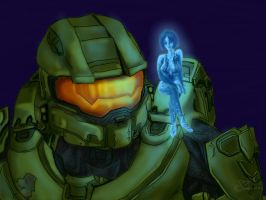 Chief and Cortana by shadesoflove