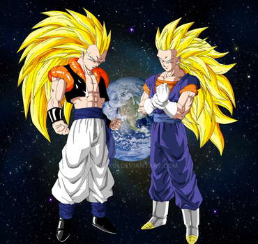 Gogeta and Vegeto SSJ3 by Maniaxoi