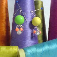 yellow-green pearl earrings by strictlyhandmade