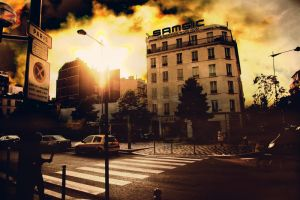 sunset in paris by binarymind