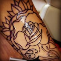 Rose tattoo in progress by jerrrroen