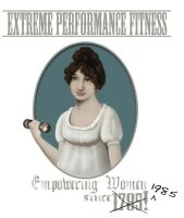 Vintage Portrait of Woman Pumping Iron by timtoe