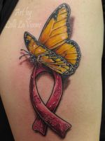 Cancer ribbon with butterfly by lavonne