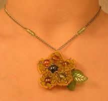 Yellow Flower Necklace by Cillana