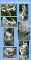 Silver Sparkle Dragon Posable Doll by Eviecats