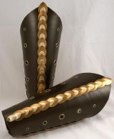 Bronze Dragon Scale Leather Bracers by ArmouredWolf907