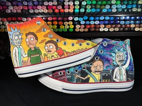 Rick and Morty Converse Hi Tops by Nykeria