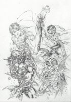 Superman Vs Batman super sons  by ebas