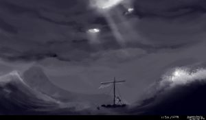 speedpaint enviroment rough sea castaway by LoneyAngel88