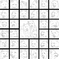 The Many Faces of Wolves (lineart) by WhiteWolfCrisis13