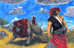 OC Commission: Hawk Human form and Lion form by matsuyama-takeshi