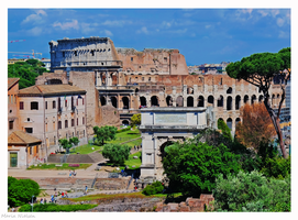 The Colosseum and Forum Romanum by Moonbird9