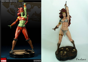Savage She Hulk vs Red Sonja custom by Enelaur