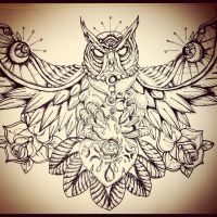 Owl Chest Piece by underlineage-designs