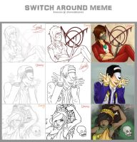 Switch Around Meme by me, corgi and em by UmmuVonNadia