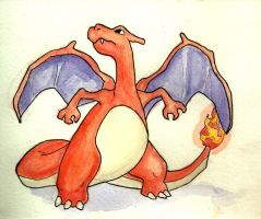 Charzard Watercolor by Justin-Hoffman