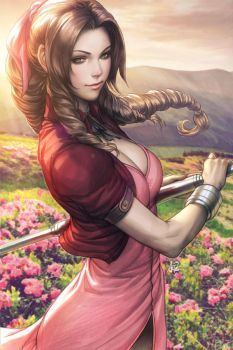 Aerith Gainsborough Colorised by Artgerm