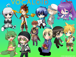All Male Vocaloid Chibi Wallpaper by CVO2