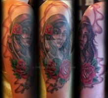woman head with red roses by theJorell