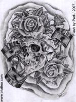 Skull and pistons by Pedi