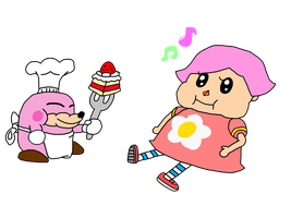 Cake-Eating Villager PNG by rabbidlover01