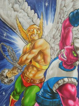 Hawkman and Kanjar Ro by EvangelistaC