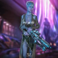 Asari on Thessia (Mass Effect) by Vizzee