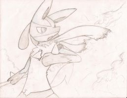 Lucario and Fire by Jaypoquiz